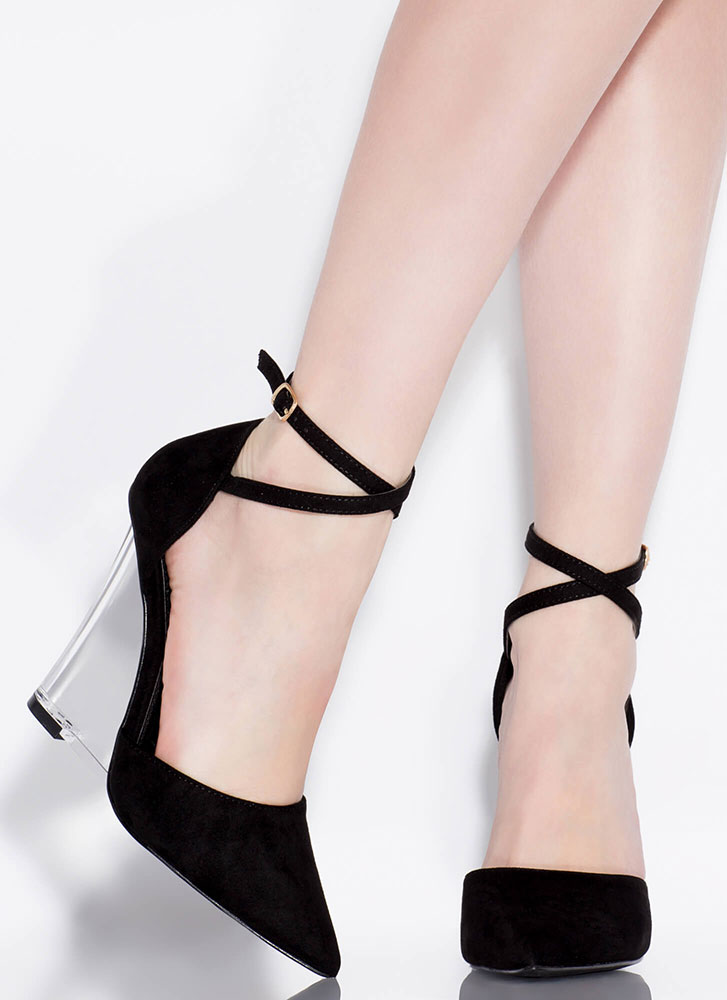 Clear Point Strappy Lucite Wedges BLACK