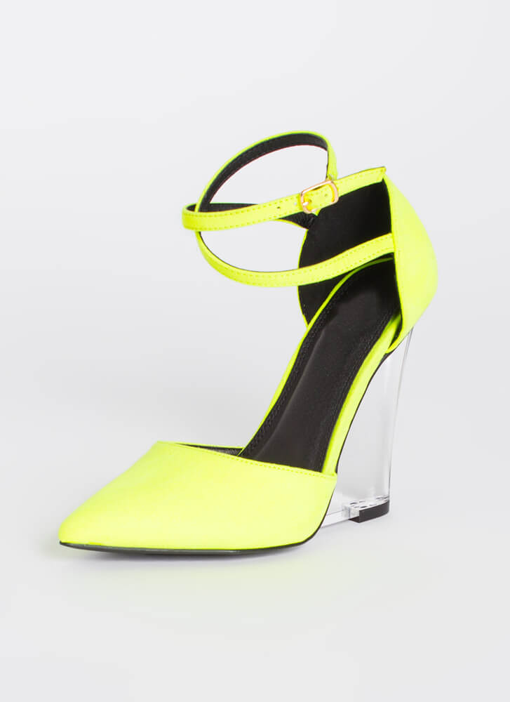 Clear Point Strappy Lucite Wedges NYELLOW