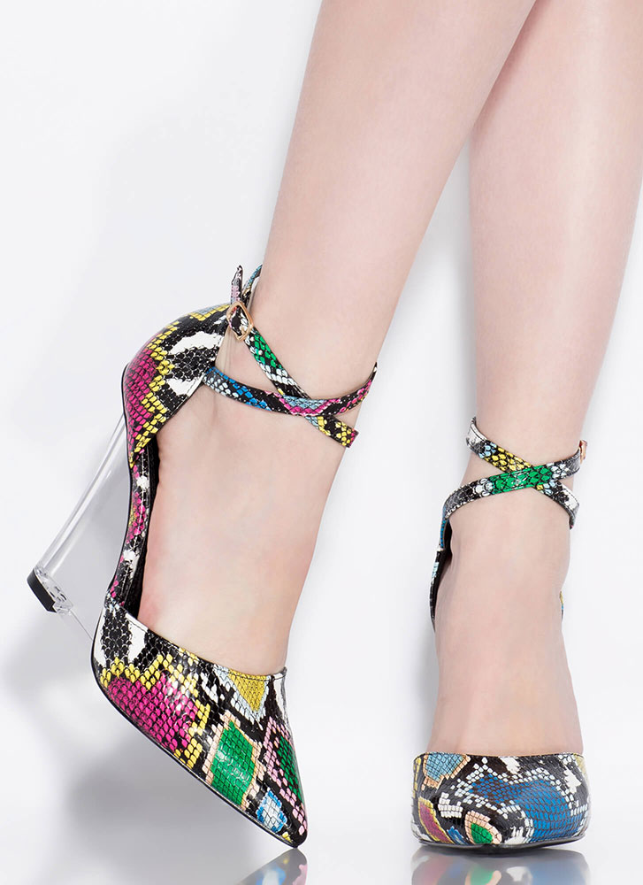 Clear Point Strappy Lucite Snake Wedges MULTI