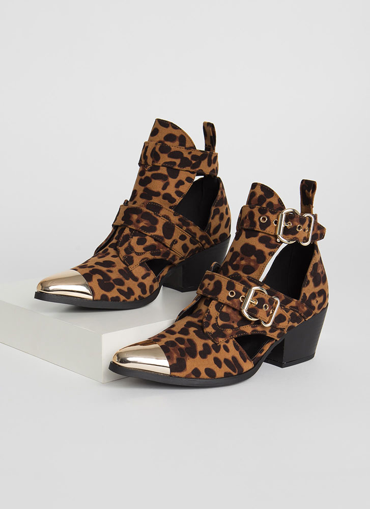 Put A Cap On It Strappy Leopard Booties LEOPARD