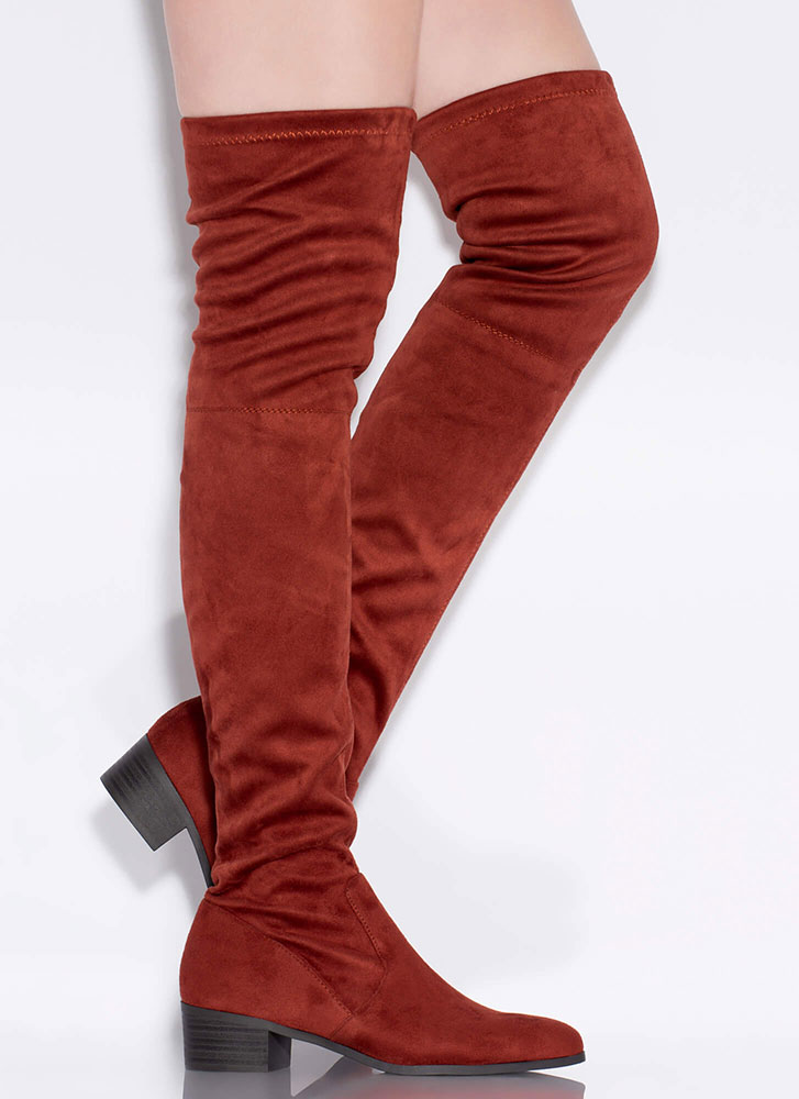 Feel A Pull Faux Suede Thigh-High Boots RUST (Final Sale)