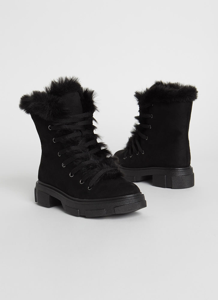 Snowed In Furry Trim Faux Suede Boots BLACK