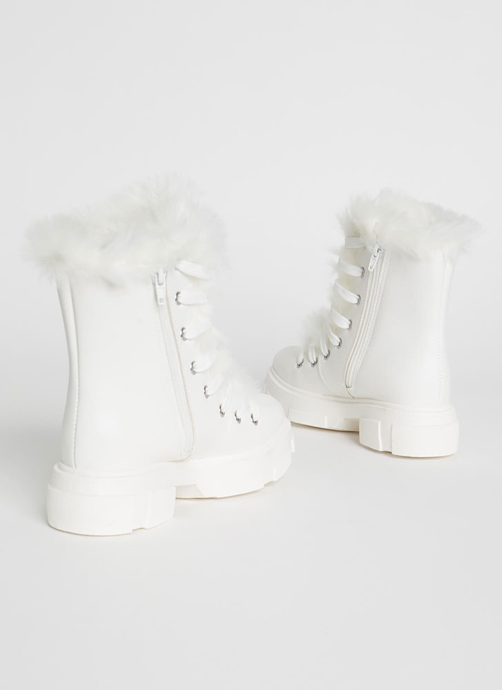 Snowed In Furry Trim Faux Leather Boots WHITE
