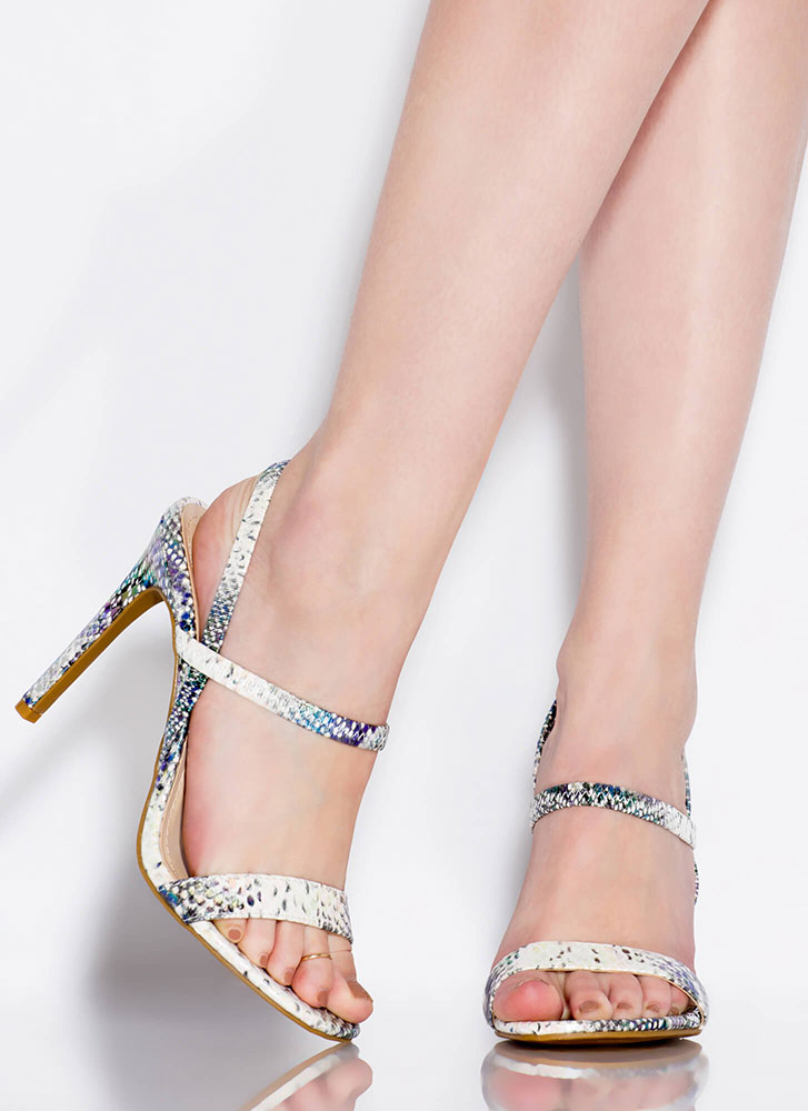 Timeless Silhouette Strappy Snake Heels IRIDESCENT