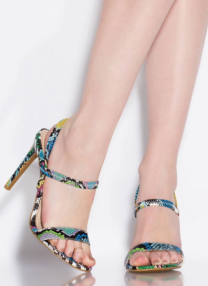Timeless Silhouette Strappy Snake Heels MULTI