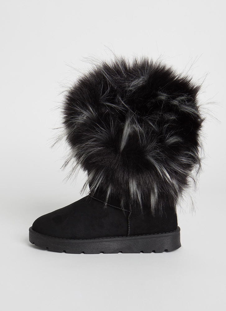 Furry Up Shaggy Trimmed Faux Suede Boots BLACK