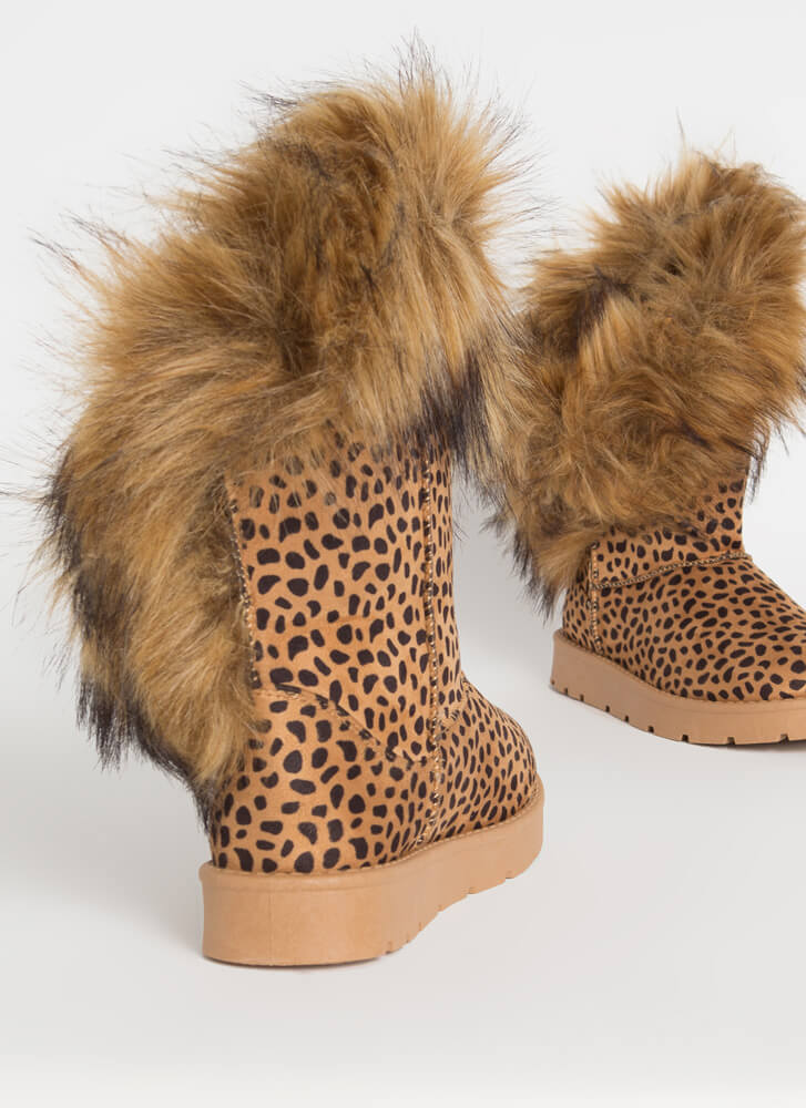 Furry Up Shaggy Trimmed Faux Suede Boots CHEETAH
