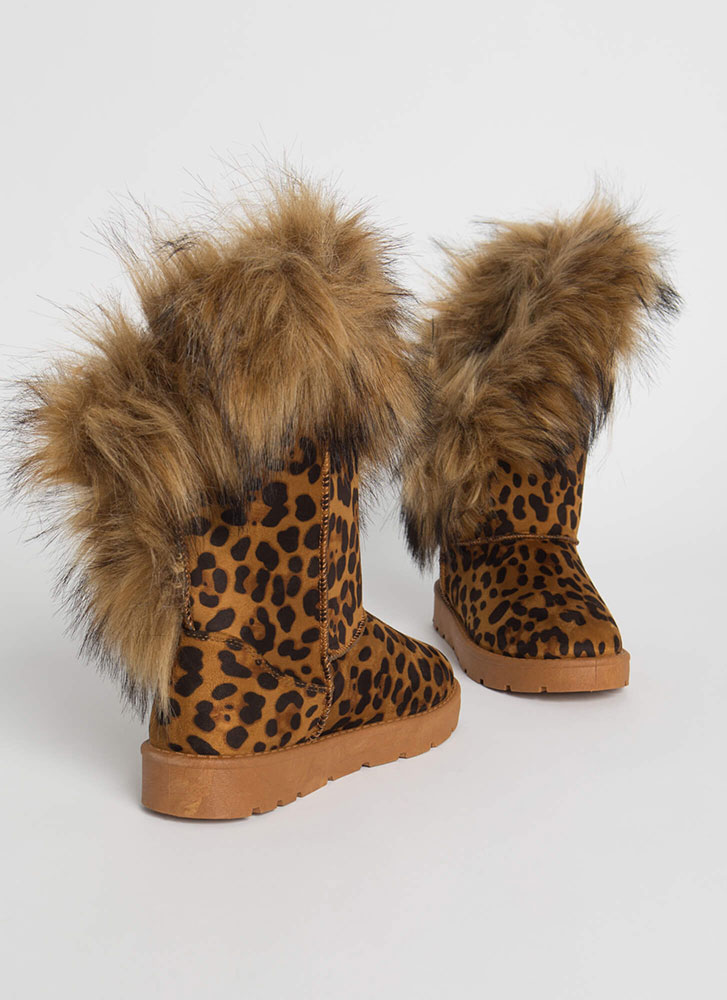 Furry Up Shaggy Trimmed Faux Suede Boots LEOPARD