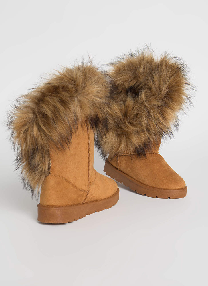 Furry Up Shaggy Trimmed Faux Suede Boots TAN