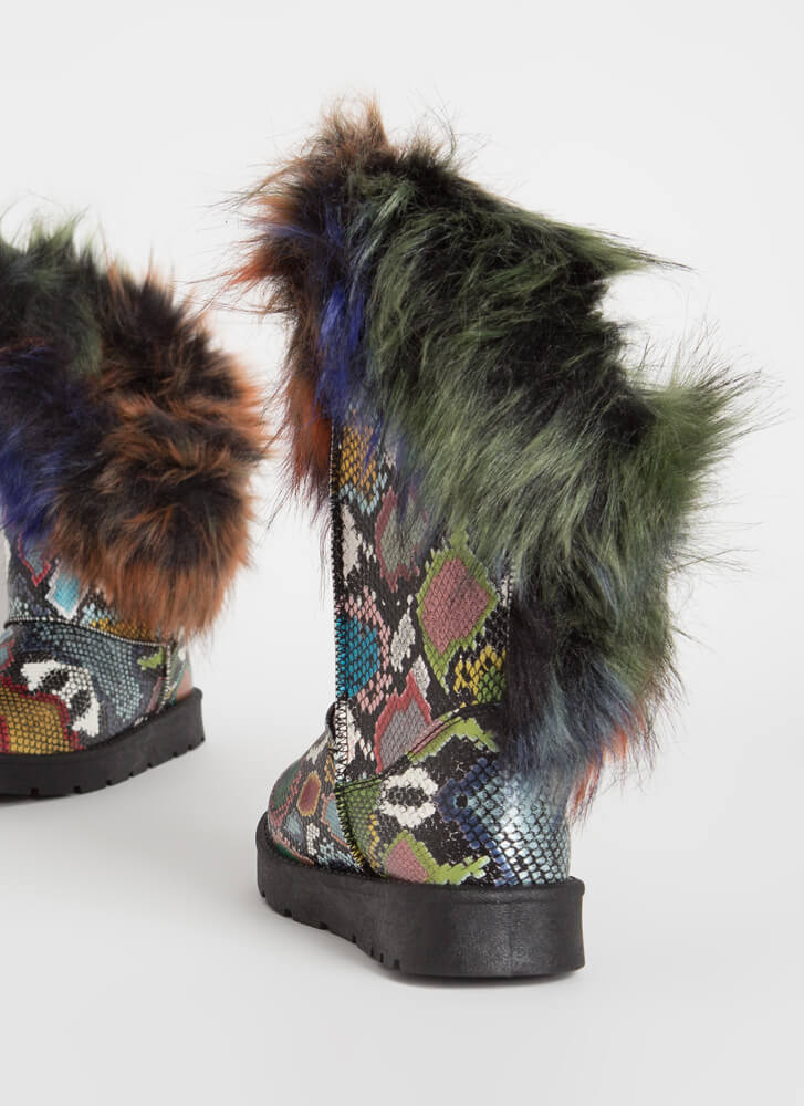 Furry Up Shaggy Trimmed Faux Snake Boots MULTI