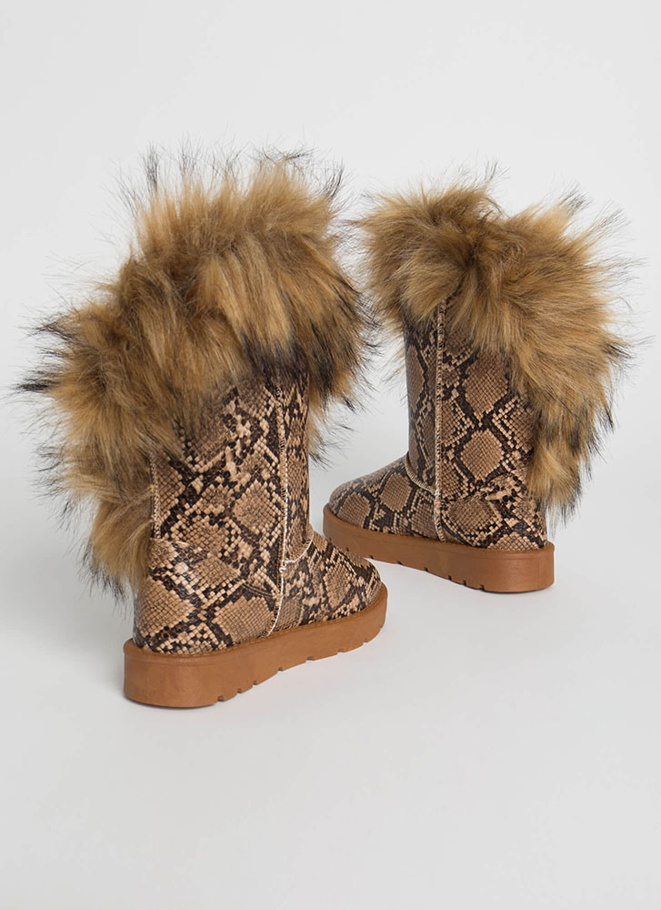 Furry Up Shaggy Trimmed Faux Snake Boots TAN
