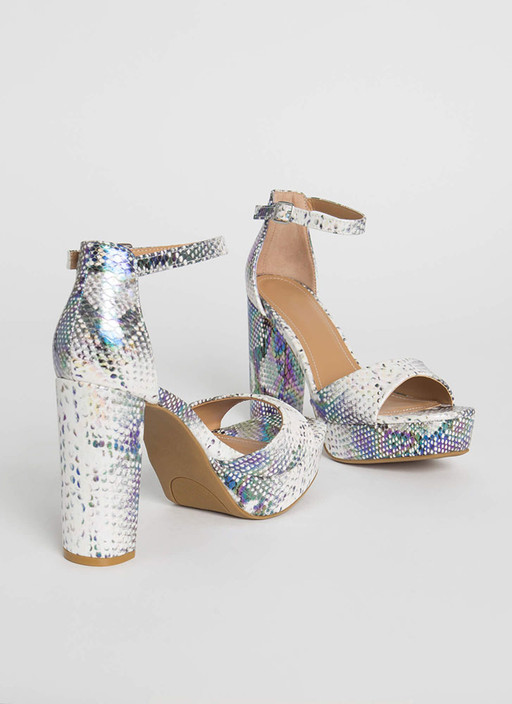 Perfect Chunky Snake Print Platforms IRIDESCENT