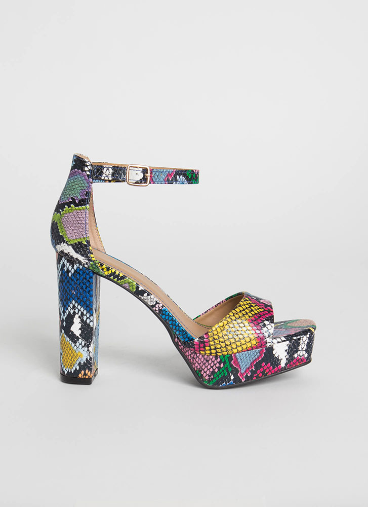 Perfect Chunky Snake Print Platforms MULTI