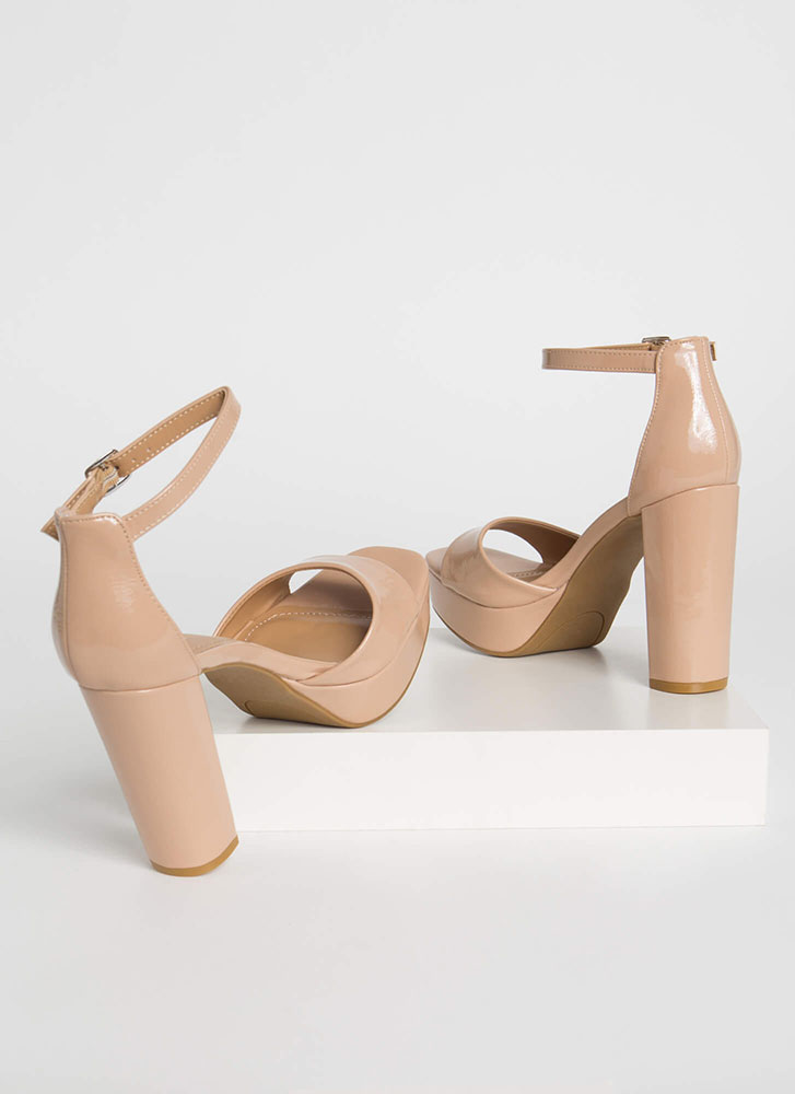 Perfect Chunky Faux Patent Platforms NUDE