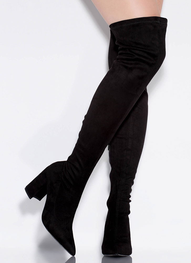 Per-suede Me Chunky Thigh-High Boots BLACK
