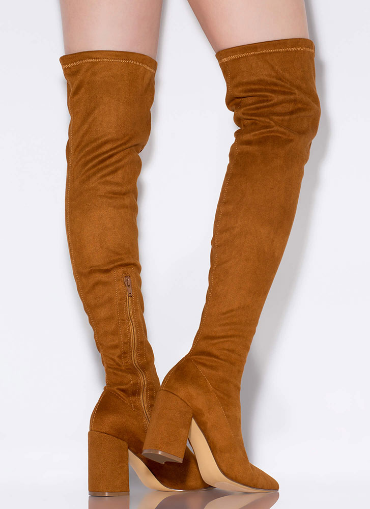Per-suede Me Chunky Thigh-High Boots TAN