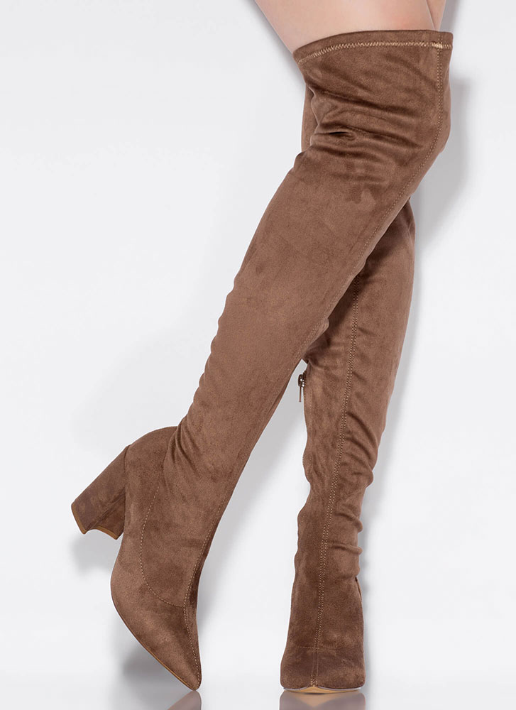 Per-suede Me Chunky Thigh-High Boots TAUPE