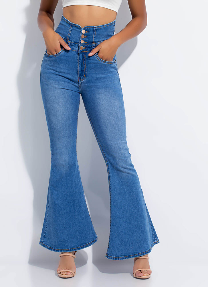 Tied Up High-Waisted Bell-Bottom Jeans BLUE