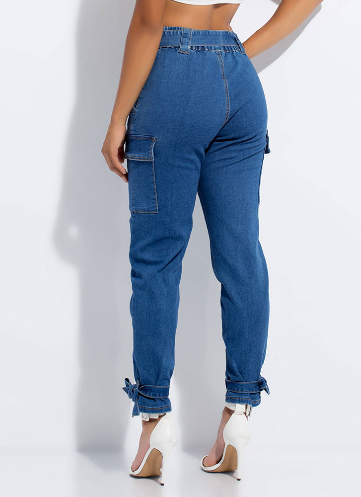 Bow-So-Cute Tied Belted Cargo Jeans BLUE