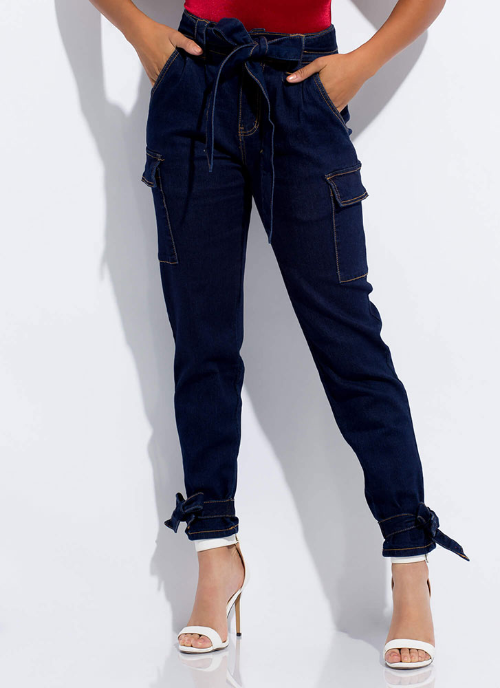 Bow-So-Cute Tied Belted Cargo Jeans DKBLUE