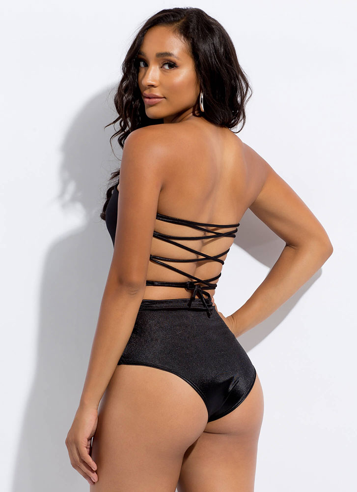 To Tie For Satin Lace-Back Bodysuit BLACK
