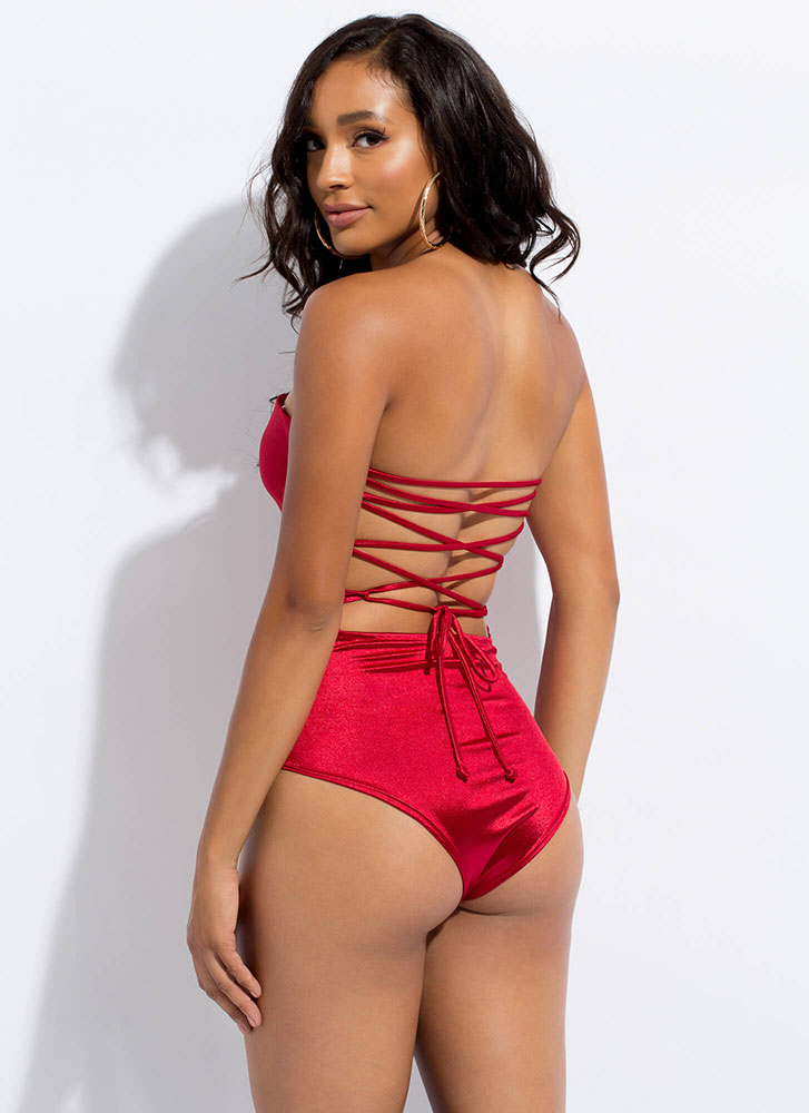 To Tie For Satin Lace-Back Bodysuit RED