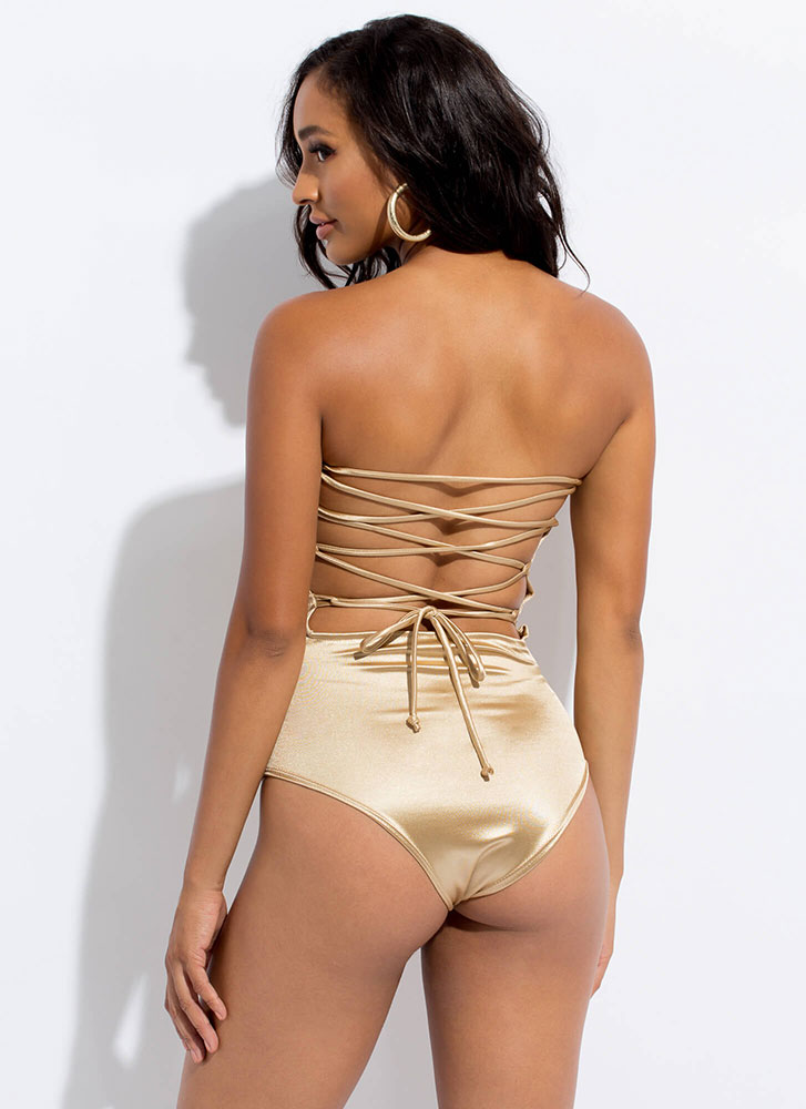 To Tie For Satin Lace-Back Bodysuit TAUPE