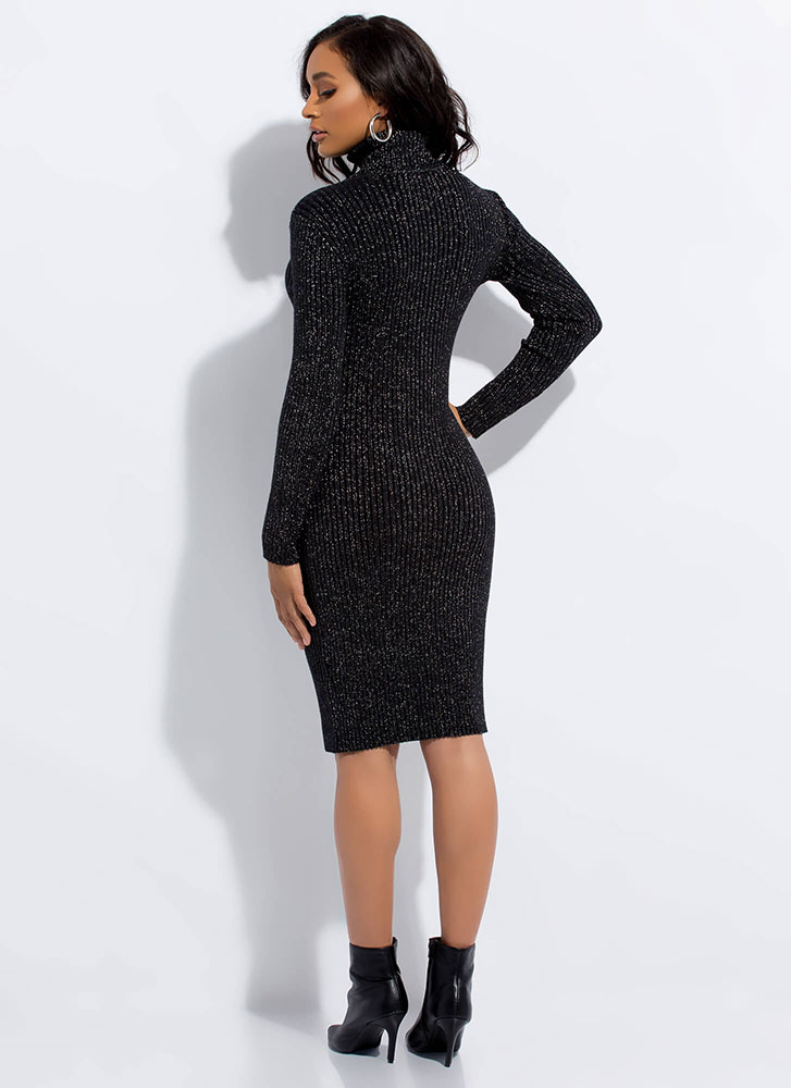 Sparkly Sweater Ribbed Turtleneck Dress BLACK