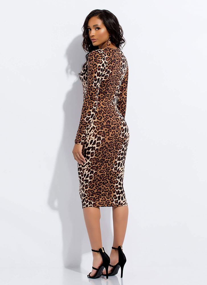 Let's Go Leopards Plunging Midi Dress LEOPARD