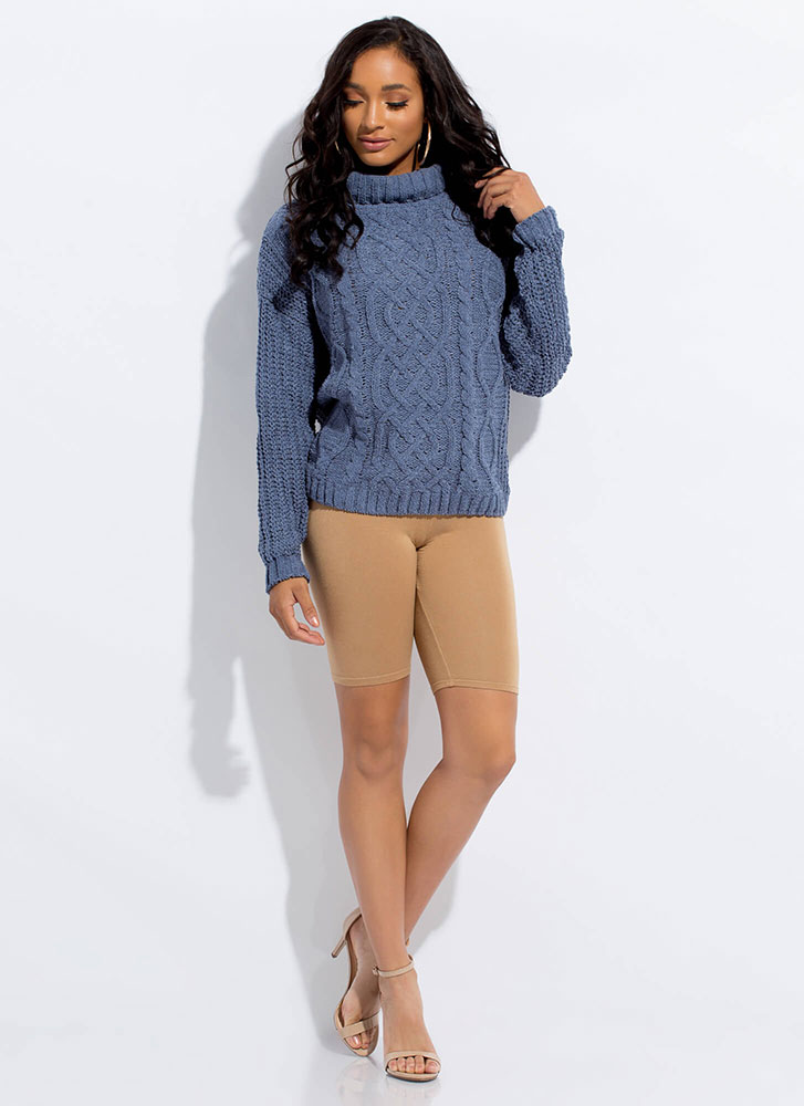 Get Cozy Cable Knit Turtleneck Sweater BLUE