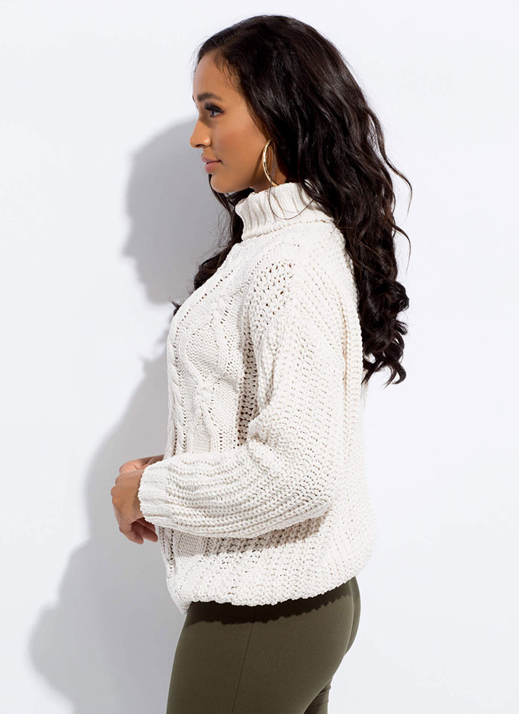 Get Cozy Cable Knit Turtleneck Sweater IVORY