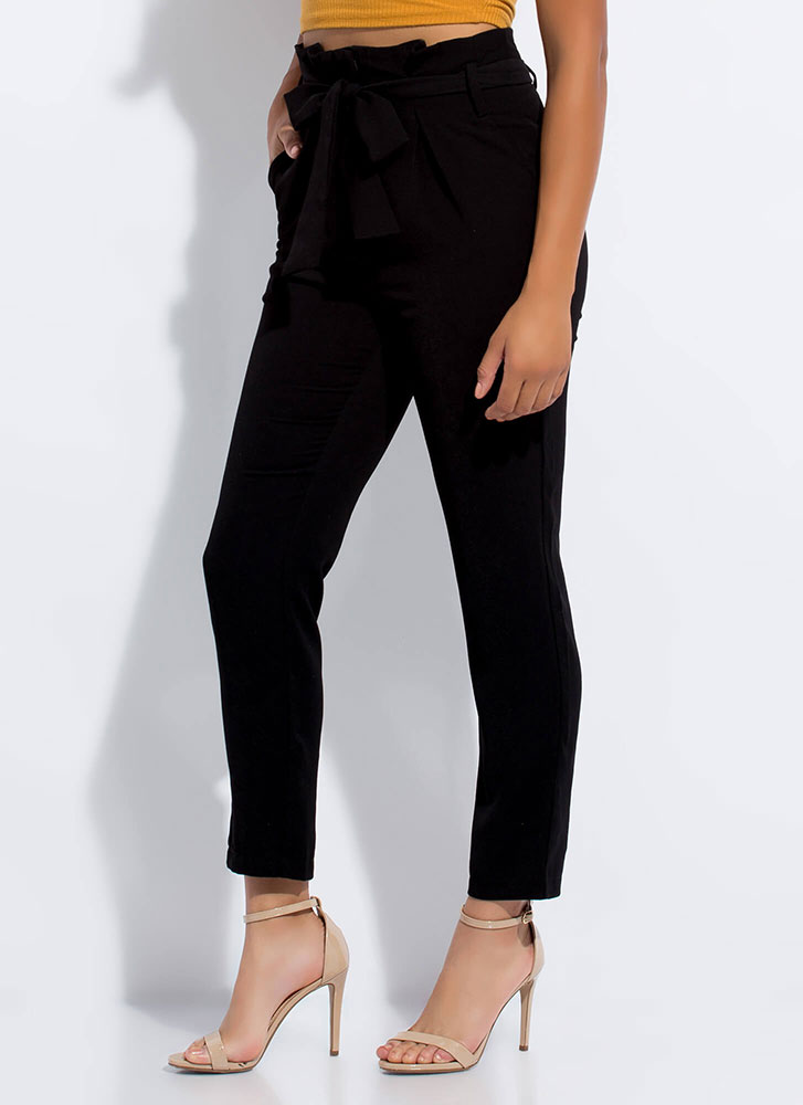 This Is Now Tied Paper-Bag Waist Pants BLACK