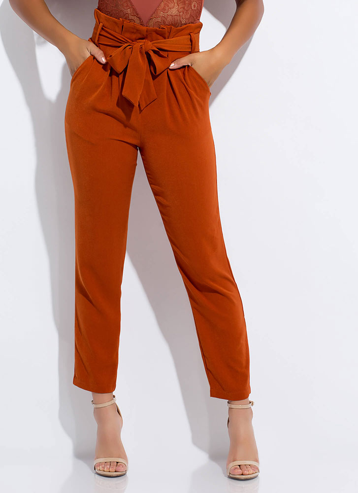 This Is Now Tied Paper-Bag Waist Pants CLAY