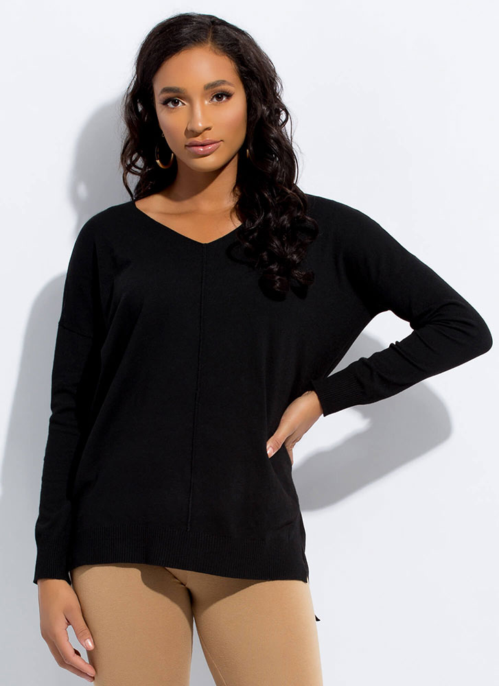 It's So Easy High-Low Knit Top BLACK