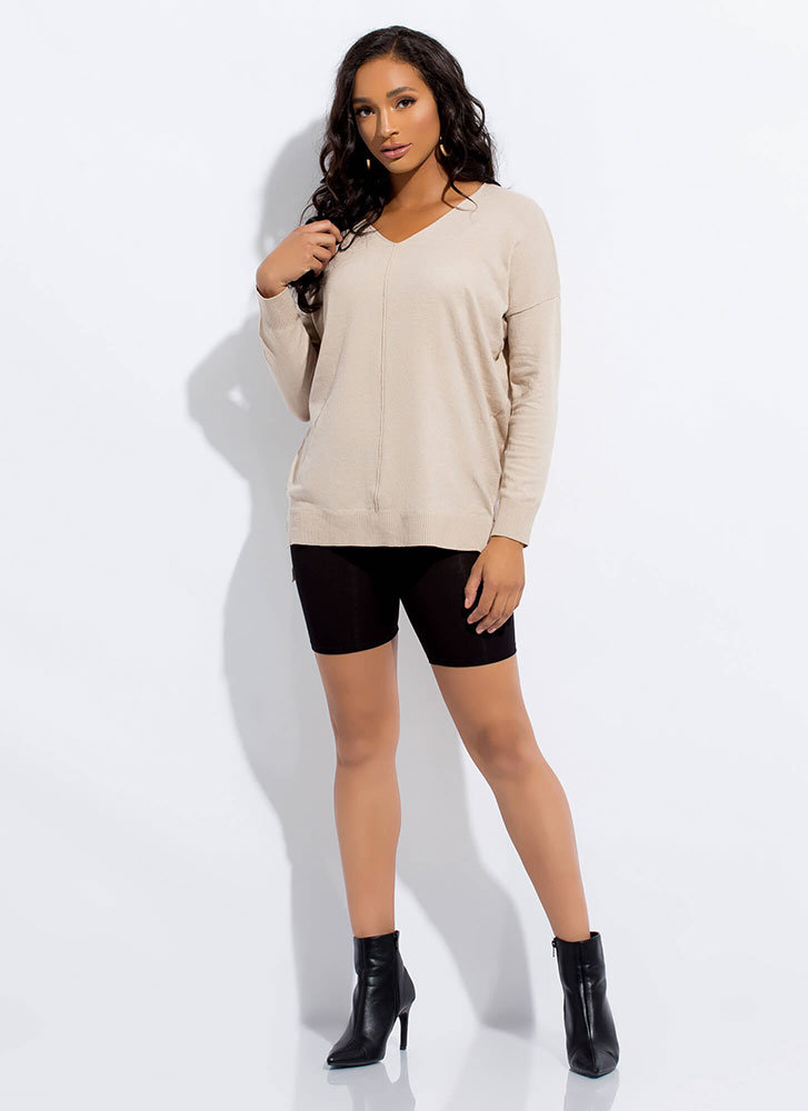 It's So Easy High-Low Knit Top SAND