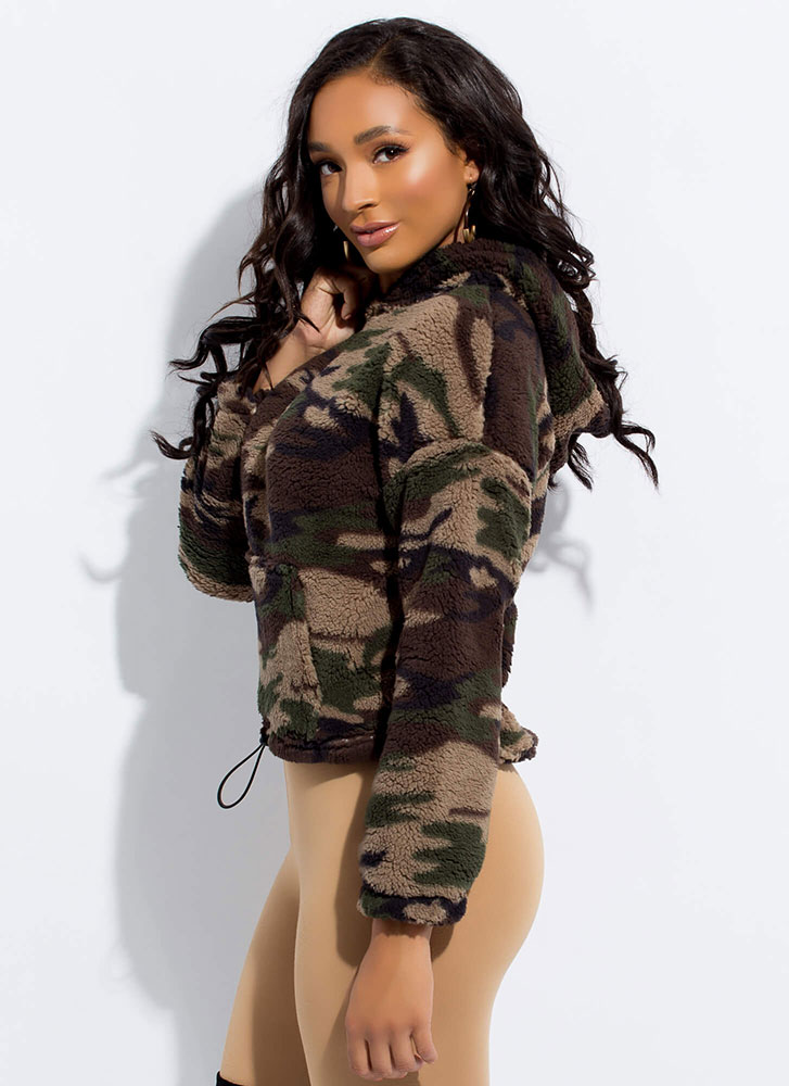 Fleece Out Camo Print Drawstring Hoodie OLIVE