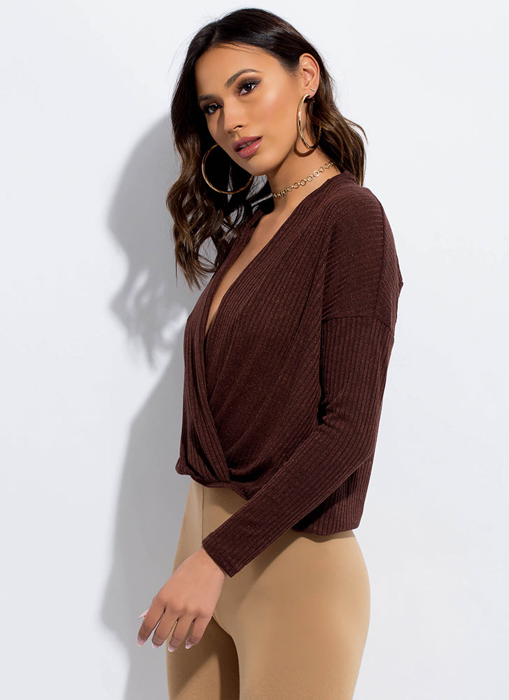 My Turn Plunging High-Low Surplice Top BROWN