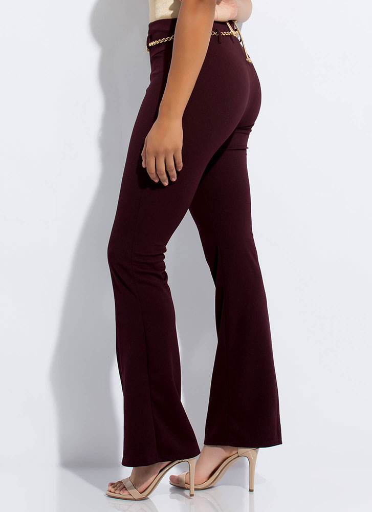 Chain Reaction Belted Pleated Slacks WINE