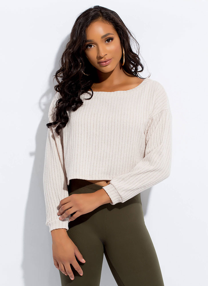 Sweater Whether Rib Knit Crop Top IVORY