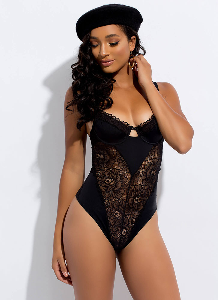 Sweet Everythings Cut-Out Lace Bodysuit BLACK (Final Sale)