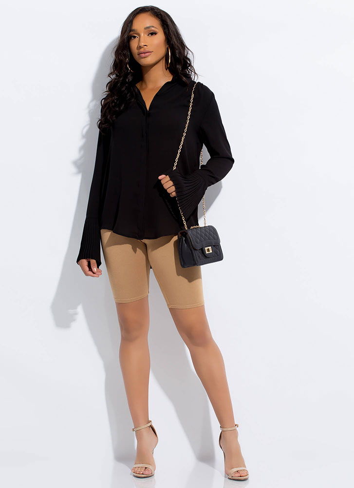 Say Pleats Flare-Sleeve Button-Up Blouse BLACK
