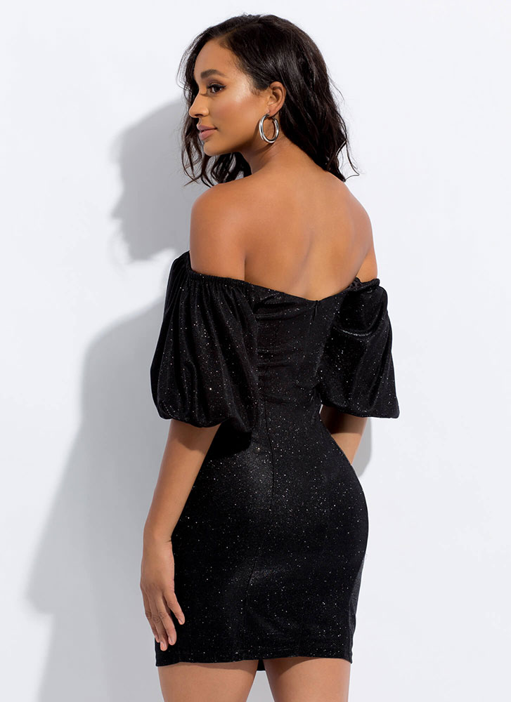Sparkle Off-Shoulder Puff Sleeve Dress BLACK (Final Sale)
