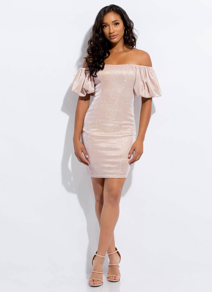 Sparkle Off-Shoulder Puff Sleeve Dress DUSTYPINK (Final Sale)