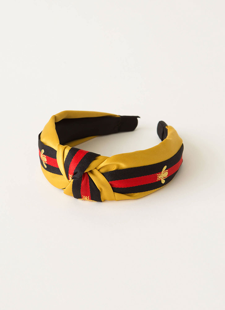 Bee Good Knotted Striped Headband YELLOW