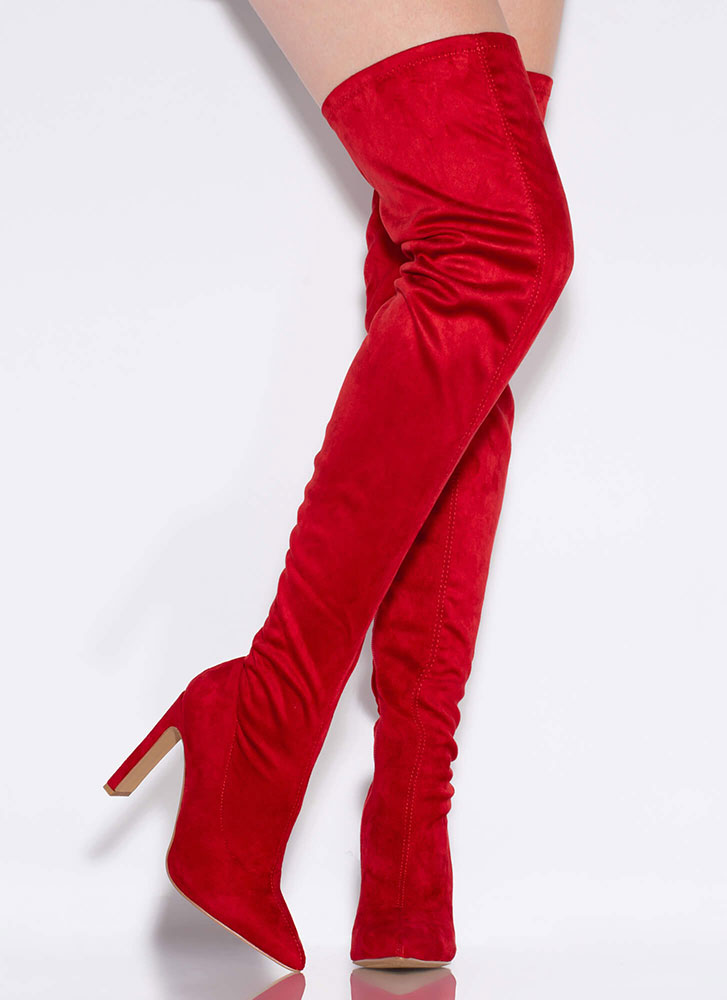 Set The Bar High Pointy Thigh-High Boots RED