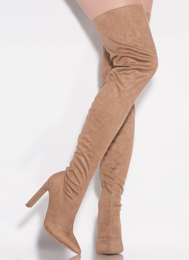 Set The Bar High Pointy Thigh-High Boots TAUPE