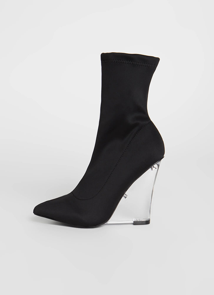 Make It Clear Wedge Sock Booties BLACK