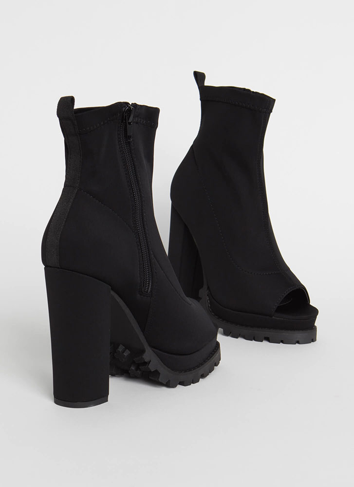 Girl In Love Chunky Peep-Toe Lug Booties BLACK