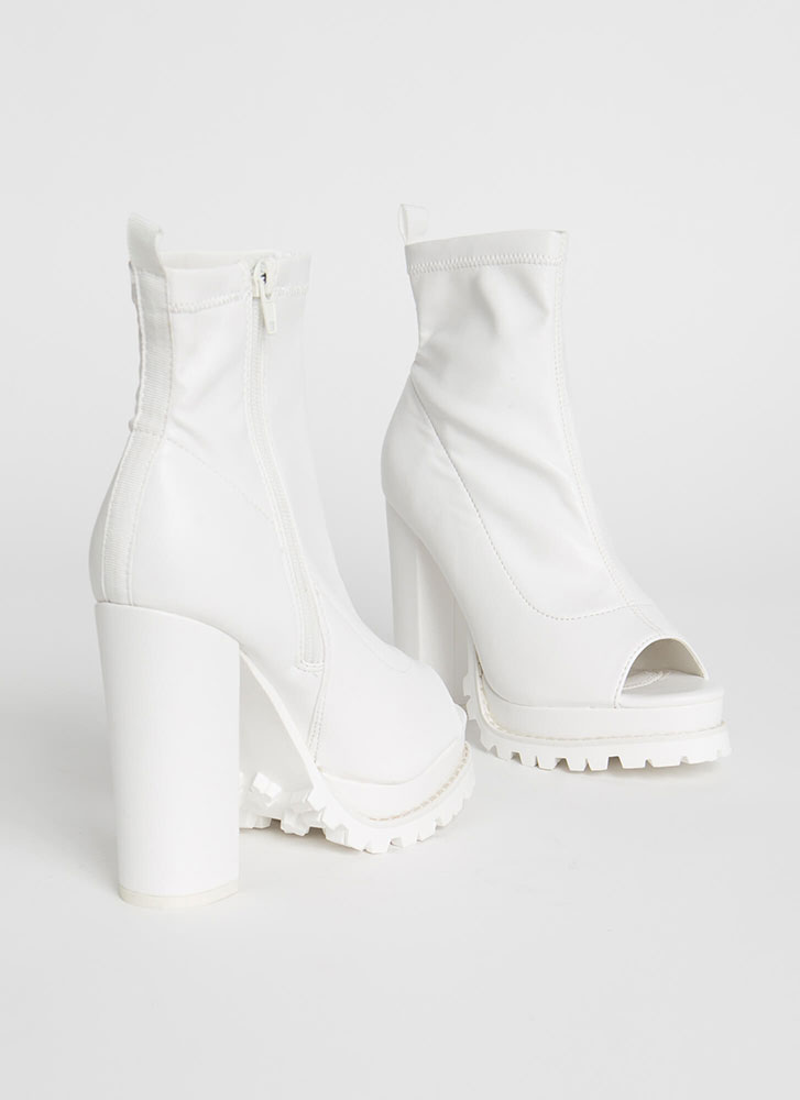 Girl In Love Chunky Peep-Toe Lug Booties WHITE