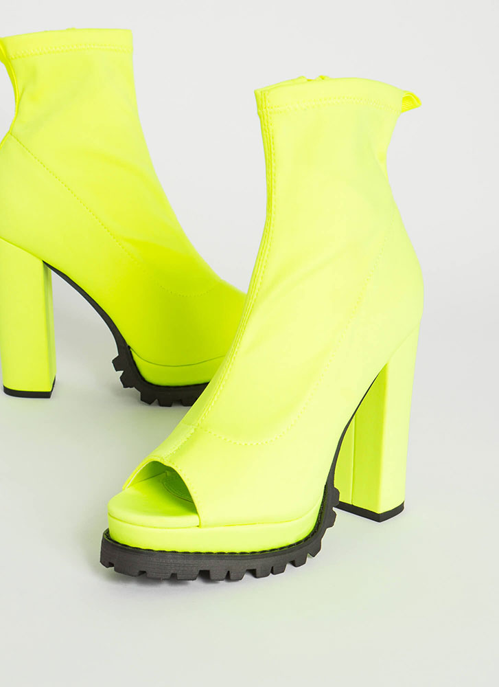 Girl In Love Chunky Peep-Toe Lug Booties YELLOW